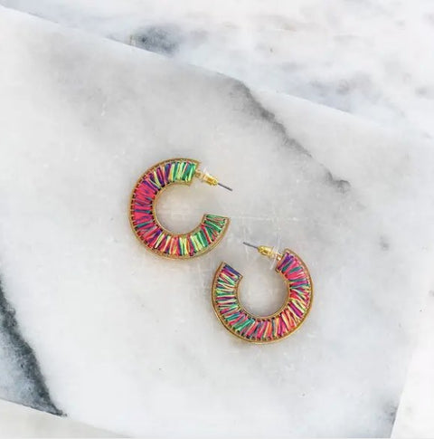 THREAD HOOP EARRINGS- BRIGHT MULTI