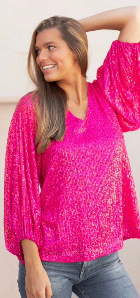 POPPY SEQUIN BLOUSE- PINK