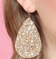 SEQUIN TEARDROP EARRINGS - GOLD