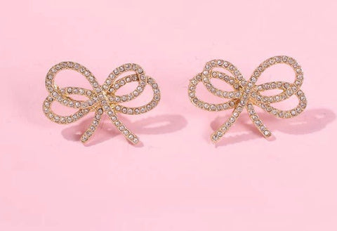 SMALL RHINESTONE BOW KNOT EARRING