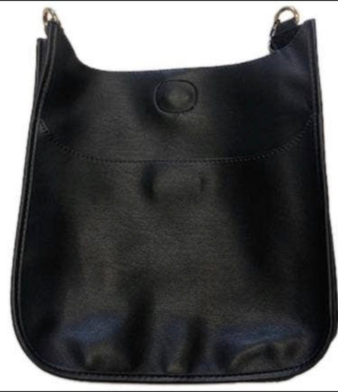 SOFT FAUX LEATHER CLASSIC MESSENGER BAG- BLACK