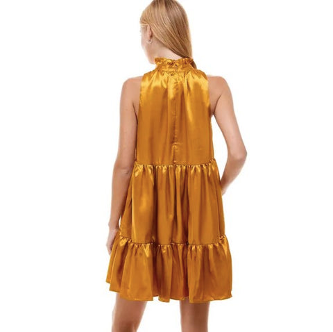 METALLIC TIERED DRESS- GOLD