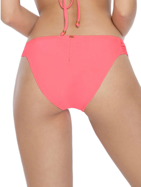 PILY Q LACED FANNED FULL COVERAGE BIKINI BOTTOM - PINK CRUSH