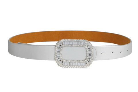 CRYSTAL BUCKLE BELT - SILVER