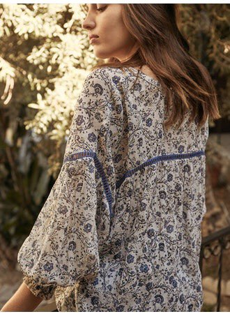 SUNDAY WOODBLOCK FLORAL BLOUSE- MULTI