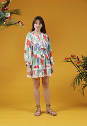 LE MONTFORT GUAZE MINI PRARIE DRESS- WHITE TROPICAL LEAF