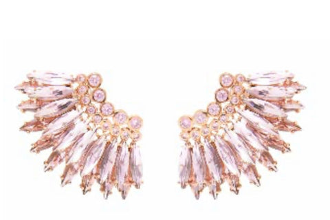 MIGNONNE GAVIGAN CRYSTAL MINI MADELINE EARRINGS - PINK