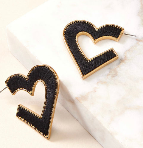 MIGNONNE GAVIGAN HEART FIONA HOOP EARRINGS - BLACKGOLD