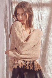 FRINGE CROPPED KNOT SWEATER - SAND