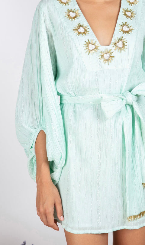 AUGUSTINE EMBROIDERED DRESS- POOL
