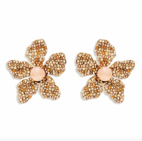 ROSE PAVE EARRING- CHAMPAGNE GOLD