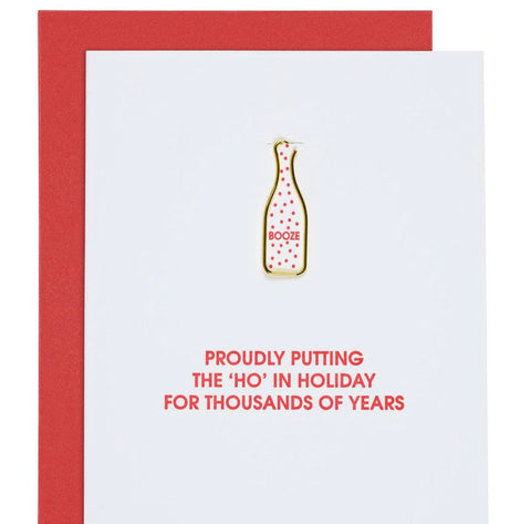 HO IN HOLIDAY CARD W BOTTLE PAPER CLIP