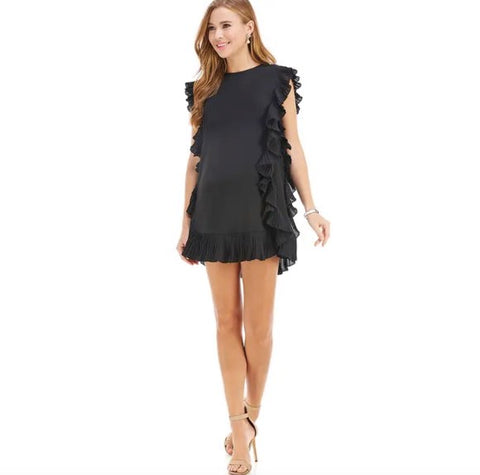 SIDE RUFFLE TRIM DRESS- BLACK