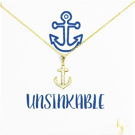 UNSINKABLE PAVE ANCHOR NECKLACE