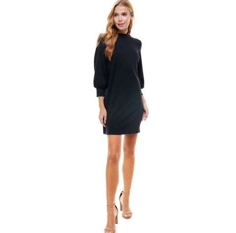 FRENCH TERRY MOCK NECK DRESS- BLACK