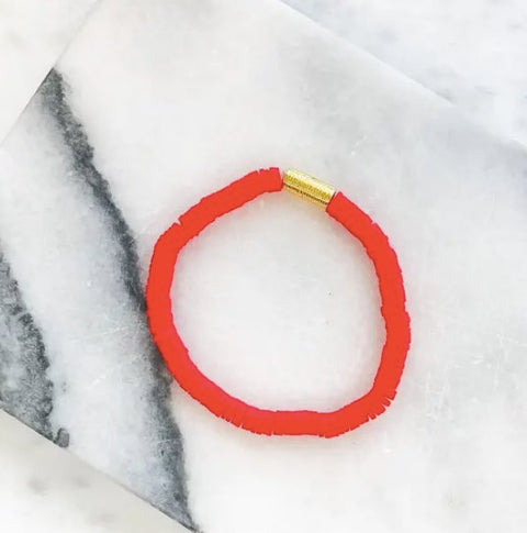 GOLD BAR RUBBER DISC STRETCH BRACELET- RED