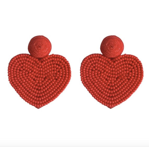 VDAY BEADED HEART EARRINGS- RED