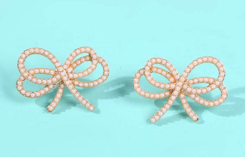 SMALL PEARL BOW KNOT EARRINGS