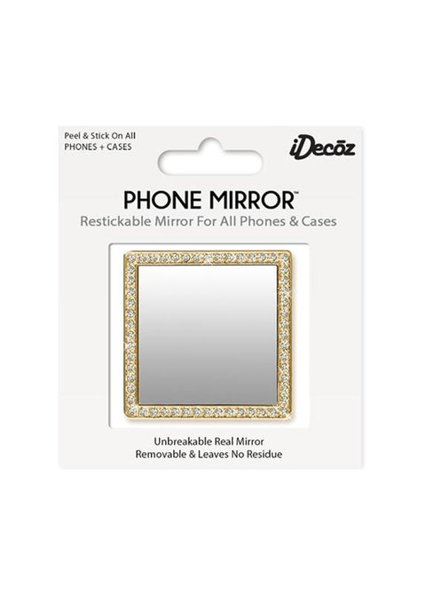 GOLD PHONE MIRROR W/ CRYSTALS
