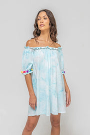 PITUSA TIE DYE POM POM DRESS- LIGHT BLUE
