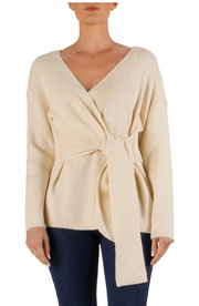 TIE FRONT SWEATER- NATURAL