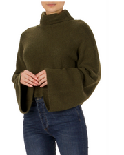 CROPPED TURTLENECK SWEATER- OLIVE