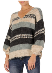 STRIPED V-NECK SWEATER- SEAFOAM/NAVY