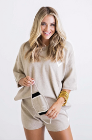 HEART SWEATER SET W/ MASK- TAUPE