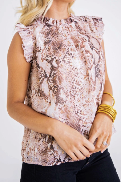 SLEEVELESS RUFFLE BLOUSE- SNAKE