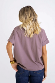 KNIT V-NECK BLOUSE- COCOA