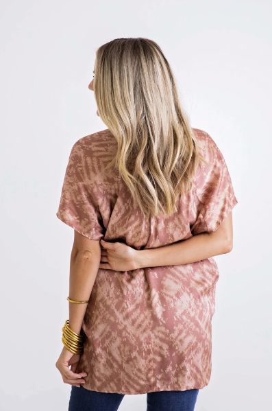 SATIN V-NECK BLOUSE- CORAL TIE DYE