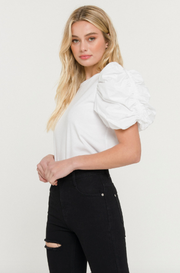 KNIT WOVEN MIXED BLOUSE- WHITE