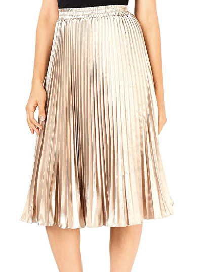 NOELLE PLEATED MIDI SKIRT - TAUPE