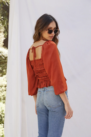 KACEY SMOCKED TOP- BURNT ORANGE