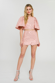 SEQUIN WRAP SKORT- PINK