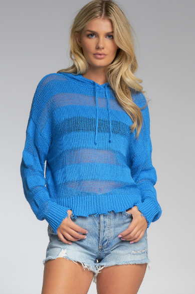 KNITTED HOODIE- BLUE