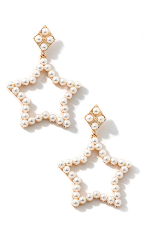FAUX PEARL STAR DANGLE EARRINGS- GOLD
