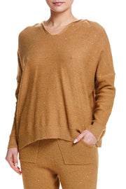 V-NECK LIGHTWEIGHT SWEATER- LATTE