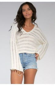 LOOSE KNIT V-NECK SWEATER- IVORY