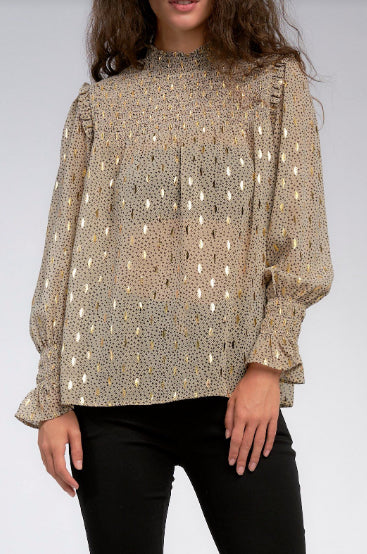 SMOCKED NECK CUFF BLOUSE- TAUPE/GOLD