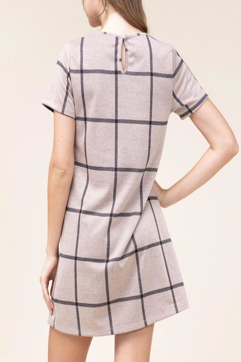PLUS SIZE GRID PRINT DRESS