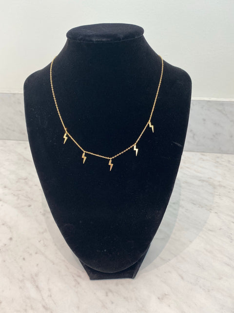 LIGHTENING BOLT CHARM NECKLACE- GOLD