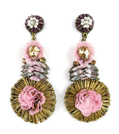 SAMANTHA EARRINGS- BRONZE/PINK
