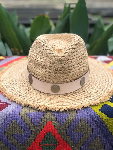 ORIJINAL RAFFIA HAT- LEATHER COIN