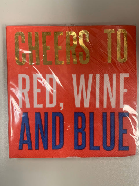 "GOLD CHEERS RED WINE AND BLUE 5"" NAPKIN- RED"