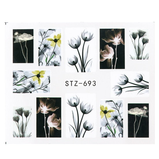 1pcs Floral Slider Water Stickers Decal For Nail Art Transfer Tattoo Flamingo Leaf Gel Manicure Adhesive Decor Tip CHSTZ508-706