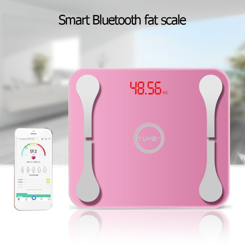 Smart Electronic LCD Digital Scales Floor Body Weight Fat BMI Bluetooth APP for Apple Bathroom Household Balance USB Charging