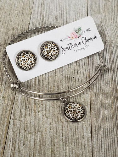 Cheetah Tan Druzy Charm bracelet & matching earrings - My Wyo Designs