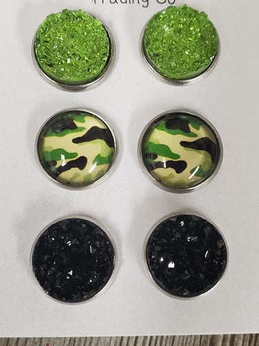 Camo Olive & Black ~3 pack earrings - My Wyo Designs