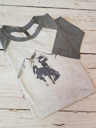 Glistening on the Range Grey/silver Raglan Sleeve Tee - My Wyo Designs